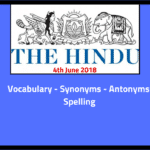 Daily English Words THE HINDU Editorial Vocabulary-23 June 2018