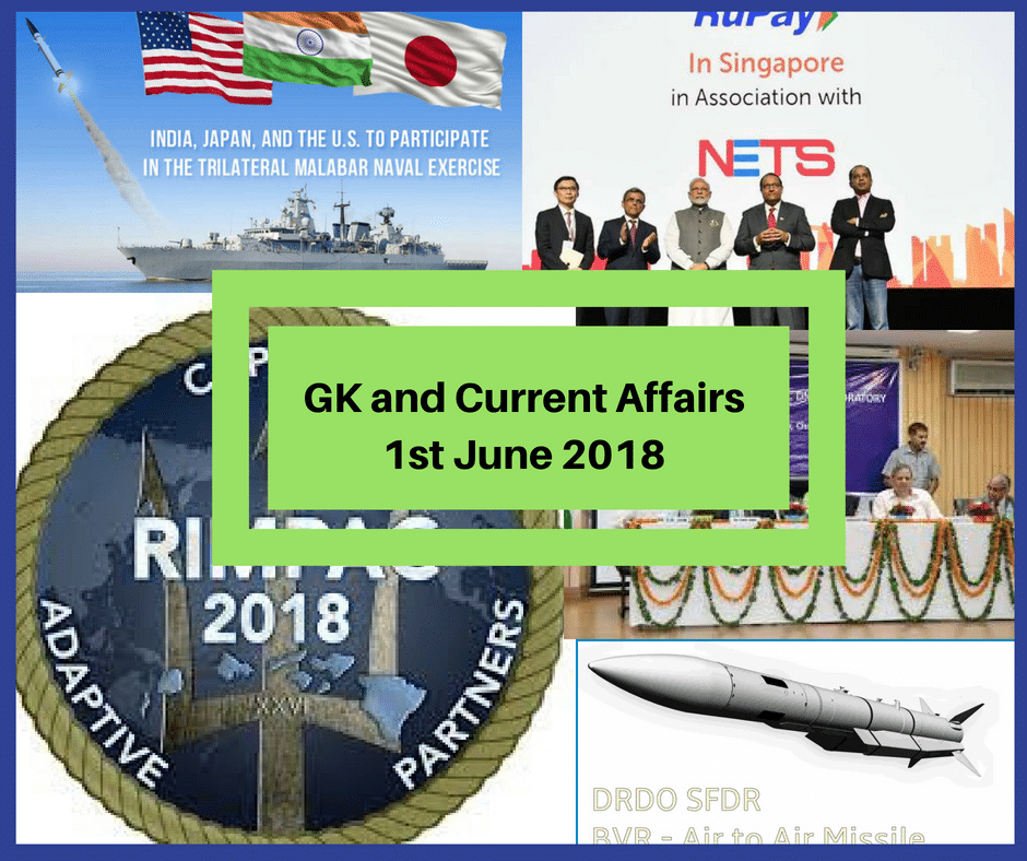 GK Today and Current Affairs Questions - 1 June 2018
